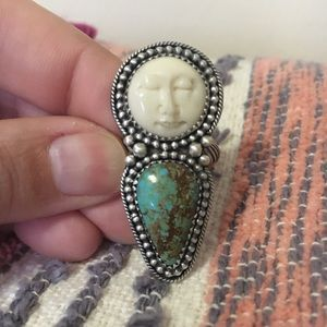 Turquoise moon face ring